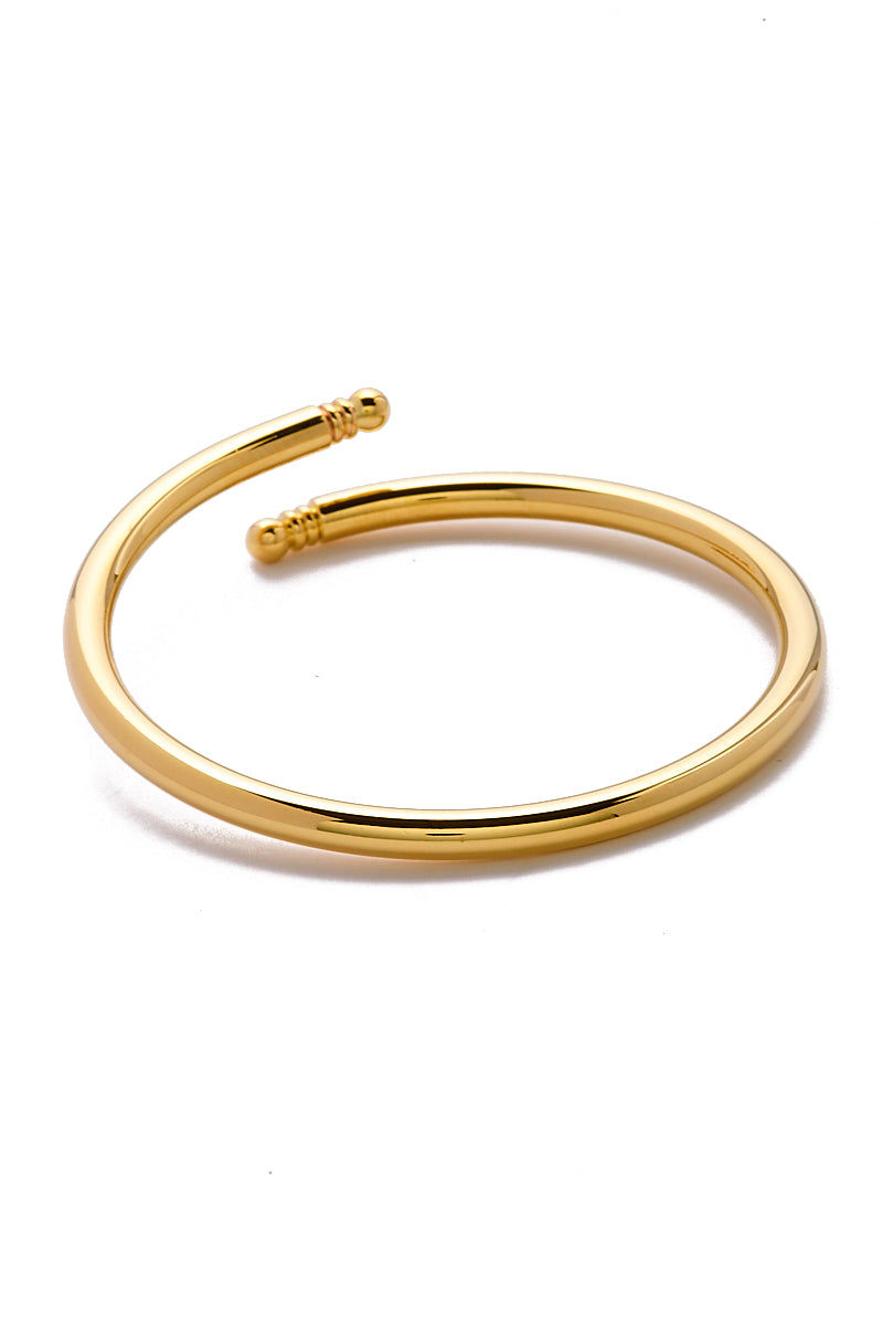 EKLEXIC Gold Knob Ended Bangle Jewelry | Yellow Gold| Eklexic Gold Knob Ended Bangle Front View