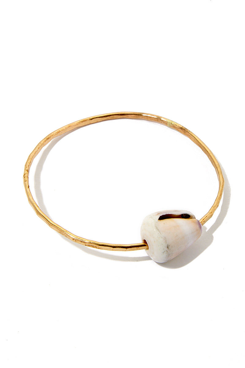 TOASTED Gold Shell Bangle Jewelry | Gold| Toasted Gold Shell Bangle Flat Lay View Gold Bangle  Shell Accent 100% Handmade  Made in the USA