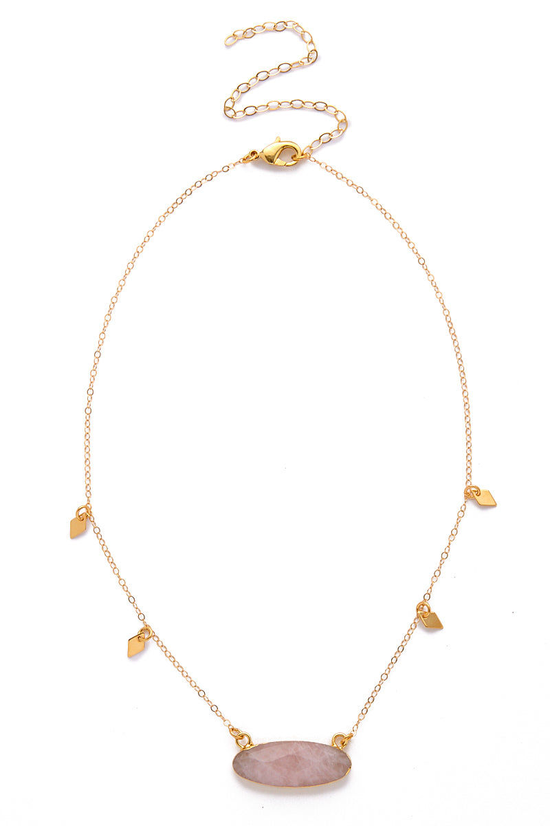 TOASTED Gold Manresa Necklace Jewelry | Rose Quartz| Toasted Gold Manresa Necklace Full View 14k Gold Filled Chain Wear it tighter as a choker or looser as a necklace!  Gold Filled Dainty Charms Rose Quartz Pendant, Making Each Necklace Unique Gold Plated Lobster Clasp & Jump Ring