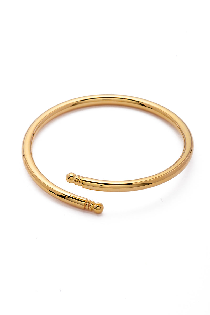 EKLEXIC Gold Knob Ended Bangle Jewelry | Yellow Gold| Eklexic Gold Knob Ended Bangle Back View