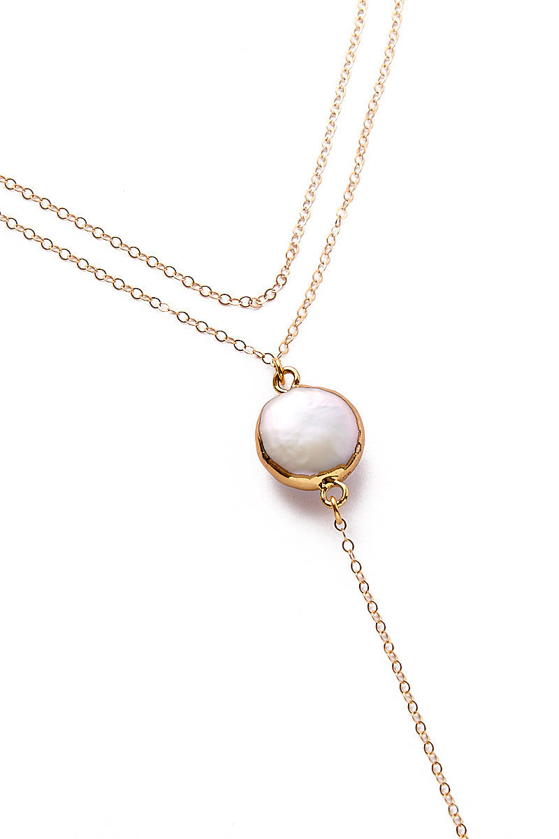 TOASTED Gold Davenport Necklace Jewelry   Gold  Toasted Gold Davenport Necklace Close Up View 14k Gold Filled Chain  Gold Filled Dainty Charm Baroque Pearl Pendant, Making Each Necklace Unique Gold Plated Lobster Clasp & Jump Rings