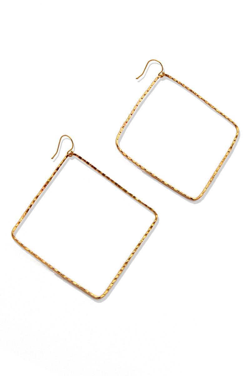 TOASTED Gold Hokulia Earrings Jewelry | Gold| Toasted Gold Hokulia Earrings Flat Lay View Gold Diamond Shaped Earrings  100% Handmade  Made in the USA