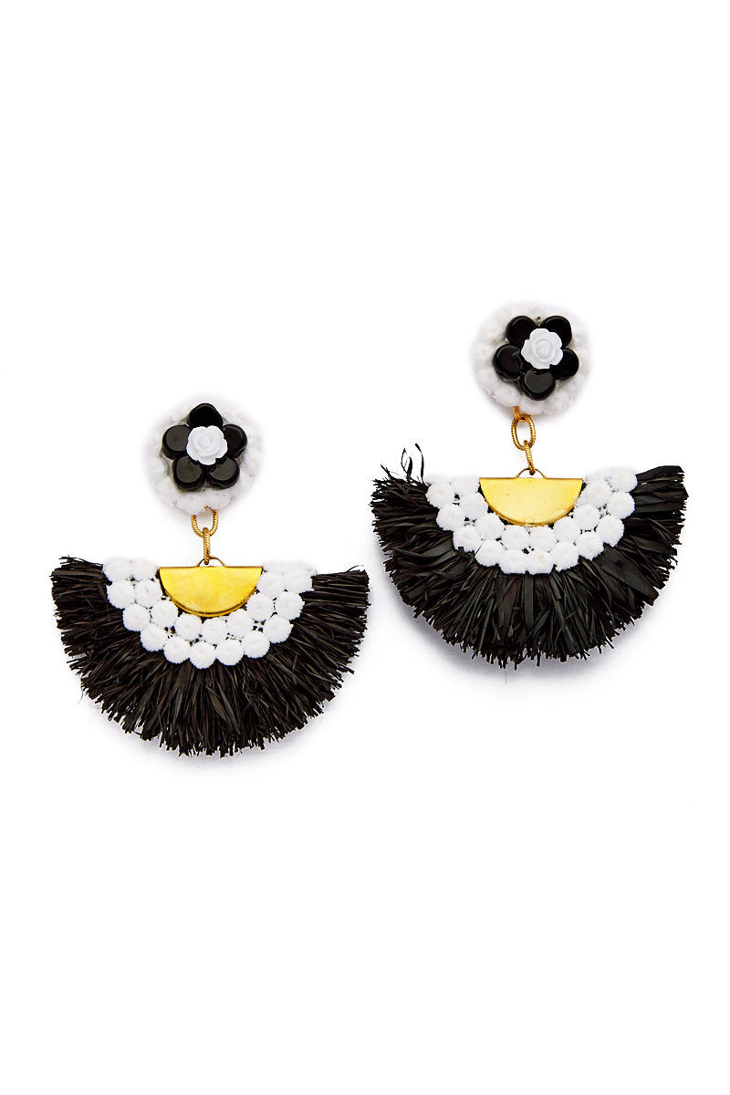 AURORAH Shoulder Duster Earrings - Black Jewelry | Black| Aurorah Shoulder Duster Earrings - Black and White Retro 60s Mod Style bold fan earrings made with natural fibers