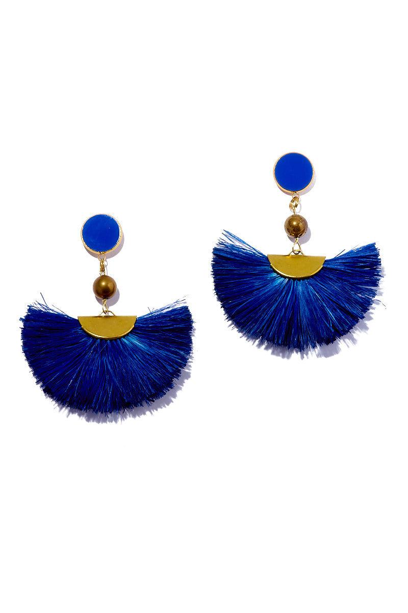 AURORAH Fan Dangle Earrings - Deep Blue Jewelry | Deep Blue| Aurorah Fan Dangle Earrings - Retro cobalt blue 60s mod style earrings made with natural palm tree fibers
