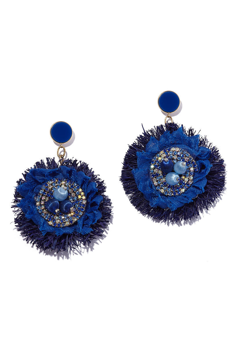 AURORAH Dangle Flower Earrings - Deep Blue Jewelry | Deep Blue| Aurorah Dangle Flower Earrings - Deep Blue Natural fiber and textile earrings Crystal and bead embellishments Stud round is .7″ Flower dangle is 3″ Earrings dust or dangle an inch or so above most shoulders Made in the USA