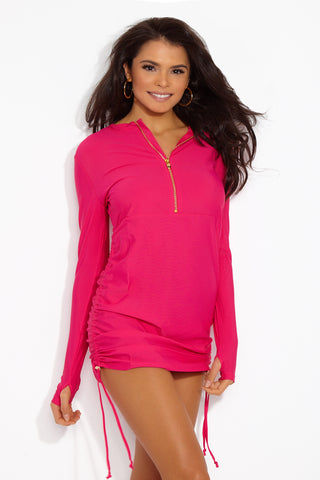 MOTT50 Sonja Rashguard Swim Dress - Watermelon Pink Swim Dress | Watermelon Pink| Mott50 Sonja Swim Dress - Watermelon Pink Front View Long sleeve swim dress  Half zipper front  Hand covers for added sun protection  Adjustable side ruching  UPF 50  Soft swim fabric  Quick drying/ breathable  Nylon/Spandex  Machine Wash/Line Dry