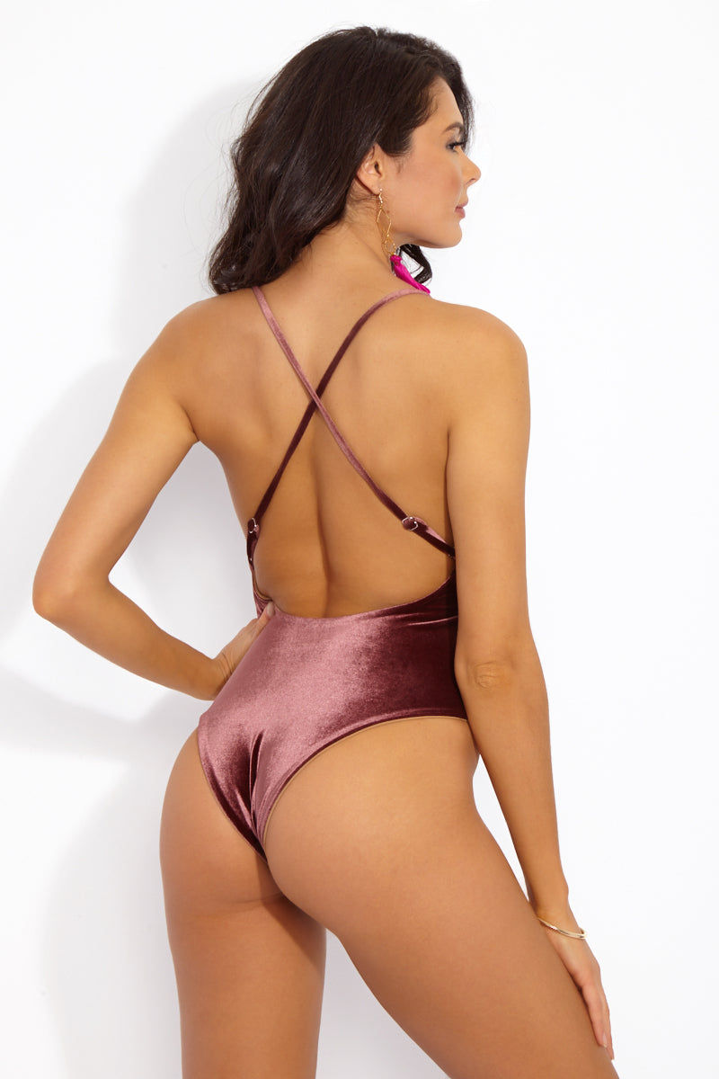 DBRIE Willi Velvet Reversible Criss Cross Back One Piece Swimsuit - Amaretto Brown/Light Latte Brown One Piece | Amaretto Brown/Light Latte Brown| DBrie Willi Velvet Reversible Criss Cross Back One Piece Swimsuit - Amaretto Brown/Light Latte Brown Plume colored velvet one piece swimsuit reversible to sleek, dark nude Lycra. Deep scoop neck shows off the perfect amount of cleavage. Adjustable spaghetti straps criss-cross over the open back. Cheeky bottom coverage Back View