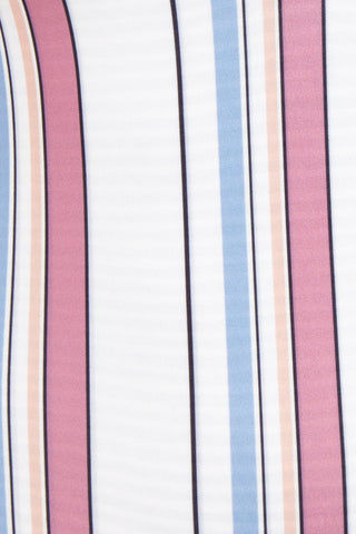 ROVE Elle Tank Scoop Back One Piece Swimsuit - Ambrosia Stripe Print One Piece | Ambrosia Stripe Print| Rove Elle Tank Scoop Back One Piece Swimsuit - Ambrosia Stripe Print Deep V Neckline  Low V Back Contrasting Trim  High Cut Leg Cheeky Coverage Muted red and blue vertical stripes Front View