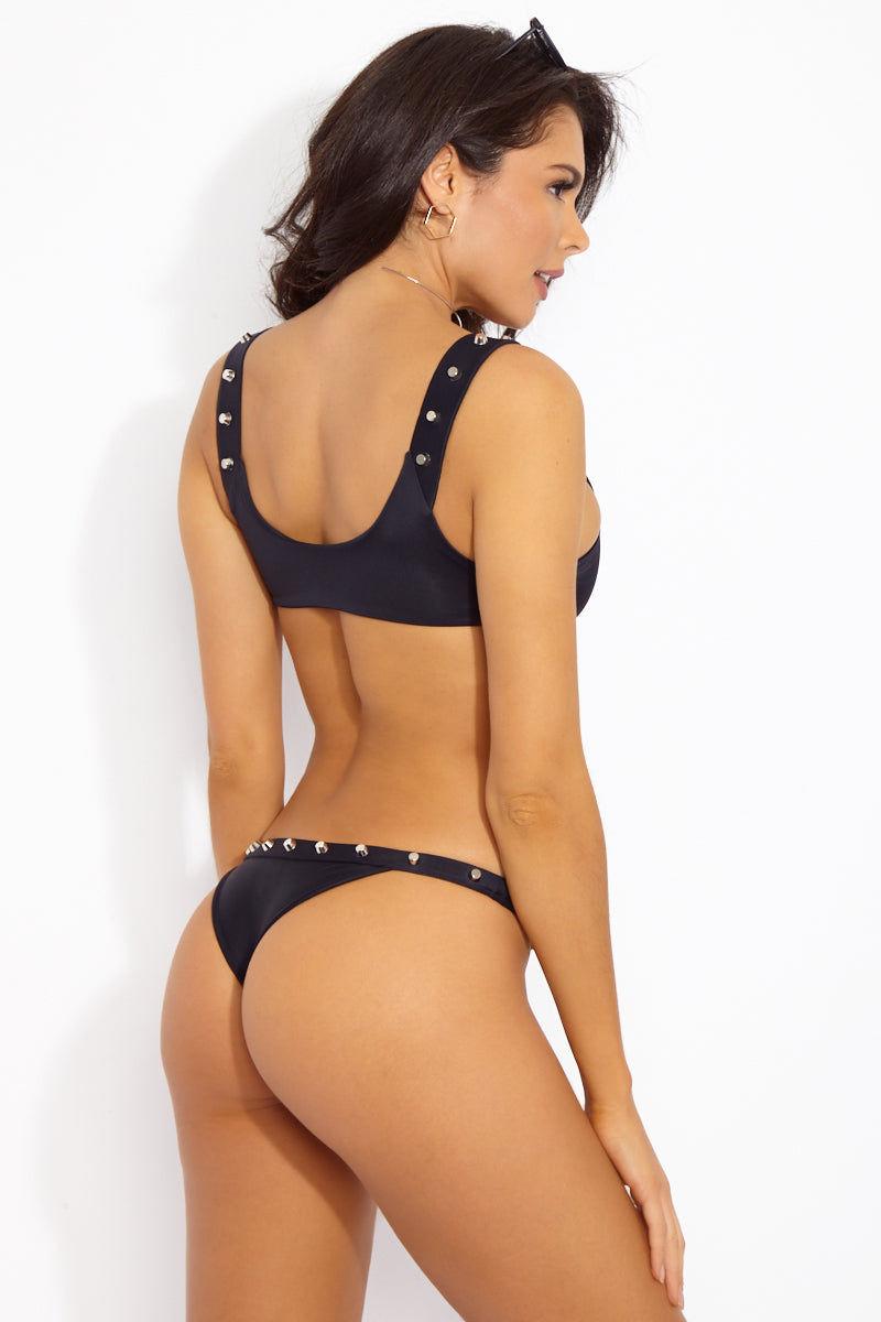 INDAH Cole Studded Bottom - Black Bikini Bottom | Black| Indah Cole Studded Bikini Bottom