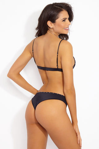 INDAH Mandy Studded Bottom - Black Bikini Bottom | Black| Indah Mandy Studded Bikini Bottom