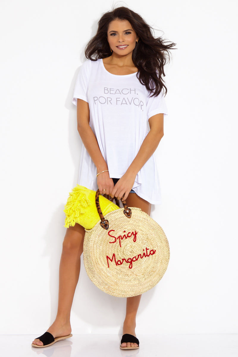 ETE APPARELS Beach, Por Favor Oversize Tee - White Top | White| Ete Apparels Beach, Por Favor Oversize Tee - White Front View Oversized Tee Short Sleeves A -Line Cut   Gray Font Across Chest in All Caps  Fabric: Micro Modal