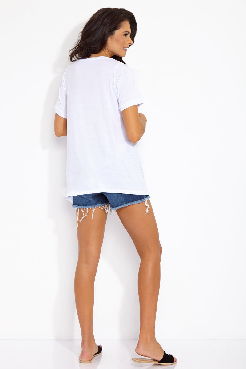 ETE APPARELS Beach, Por Favor Oversize Tee - White Top | White| Ete Apparels Beach, Por Favor Oversize Tee - White Back View Oversized Tee Short Sleeves A -Line Cut   Gray Font Across Chest in All Caps  Fabric: Micro Modal