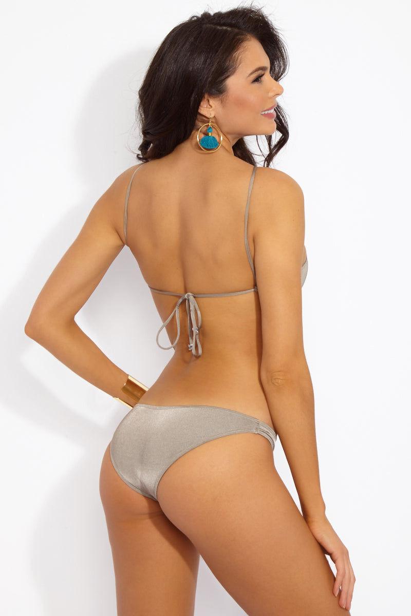 INDAH Lynx Macrame High Neck Bikini Top - Taupe Brown Bikini Top | Taupe| Indah Lynx Macrame Bikini Taupe Brown |Indah Lynx Macrame High Neck Bikini Top - Taupe Brown Hand sewn macrame design High neck halter Ties at mid back Back View