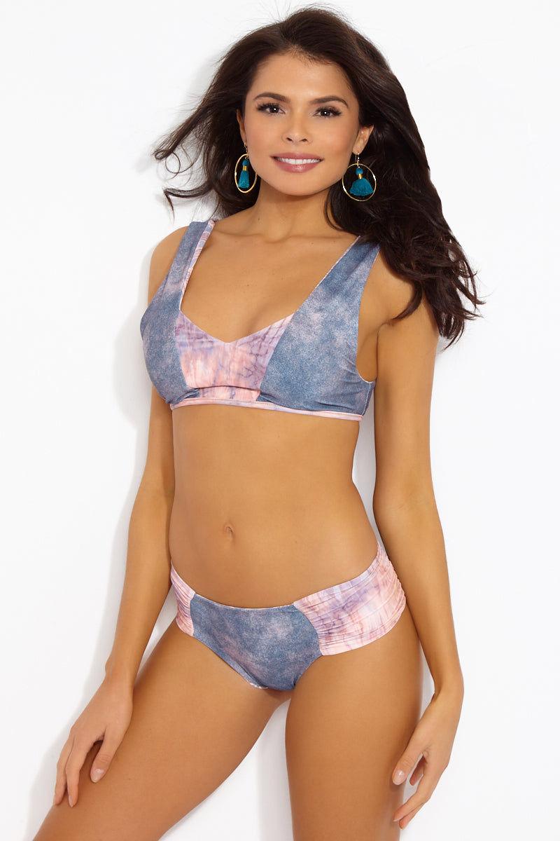 SEEA Milos V-Neck Color Blocked Bralette Reversible Bikini Top - Nopal Print Bikini Top | Nopal| Seea Milos Reversible Top  - Nopal