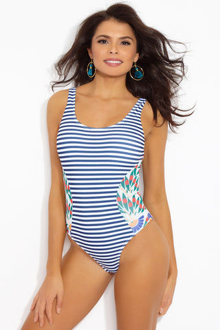 SEEA Lola Color Block Scoop Tank One Piece Swimsuit - Navy & White Stripe Print/Camburi Floral Print One Piece | Navy & White Stripe Print/Camburi Floral Print| SEEA Lola Color Block Scoop Tank One Piece Swimsuit - Navy & White Stripe Print/Camburi Floral Print Classic tank-style one piece swimsuit. Navy blue and white horizontal stripe pattern. Original chamburi print color blocking at each side of the waist. Scoop back. High leg cut. Cheeky coverage to moderate coverage. Front View