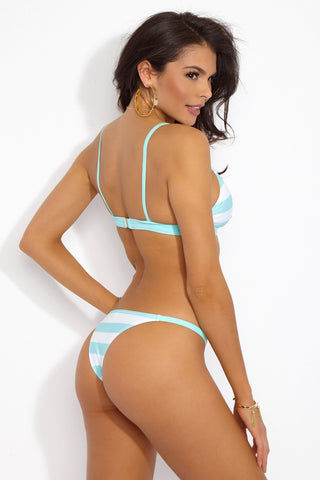 SOLID & STRIPED The Morgan Triangle Bikini Top - Aqua & Cream Stripe Print Bikini Top | Aqua & Cream Stripe Print| Solid & Striped The Morgan Triangle Bikini Top - Aqua & Cream Stripe Print Triangle bikini top in Thin shoulder straps  Back View