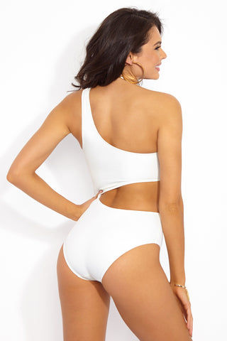SOLID & STRIPED The Claudia Asymmetric Cut-Out One Piece Swimsuit - Cream One Piece | Cream| Solid & Striped Claudia One Piece