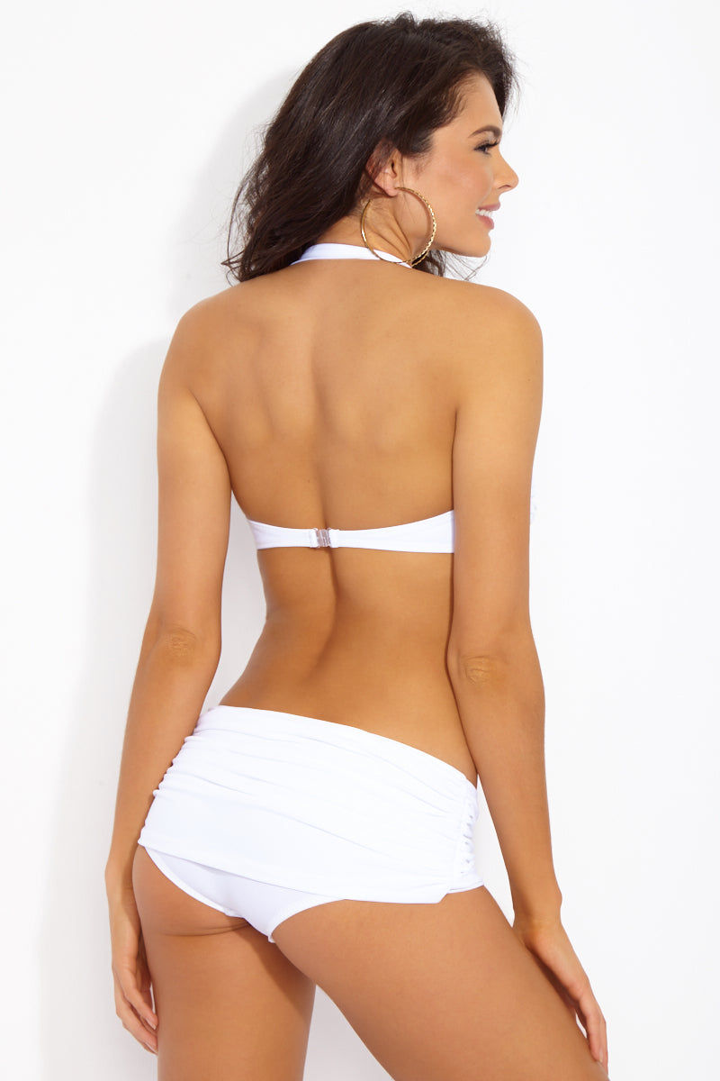 NORMA KAMALI Bill Halter Sweetheart Neckline Bikini Top - White Bikini Top | White| NORMA KAMALI Bill Halter Sweetheart Neckline Bikini Top - White. Back View. White halter bikini top in fully shirred luxe swim jersey fabric. Retro-inspired sweetheart neckline flatters and accentuates your feminine figure. Lightly boned sides and wide-set pull-over halter straps support and structure your bust. Ruched gathered fabric on cups adds dimension and elegance to the bikini top.