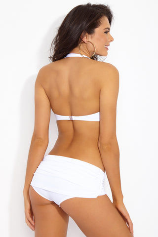 NORMA KAMALI Bill Low Rise Bikini Bottom - White Bikini Bottom | White| NORMA KAMALI Bill Low Rise Bikini Bottom - White. Back View. Retro-inspired low-rise bikini bottom in luxe ruched white swim jersey fabric. All-over shirring and fully ruched hips sculpt and flatter your figure. Underlayer of nylon spandex jersey acts as a base and gives you a brilliant form.