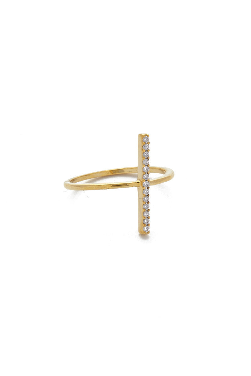 JEWEL CULT Pave Crystal Bar Ring Jewelry | Gold| Jewel Cult Pave Crystal Bar Ring
