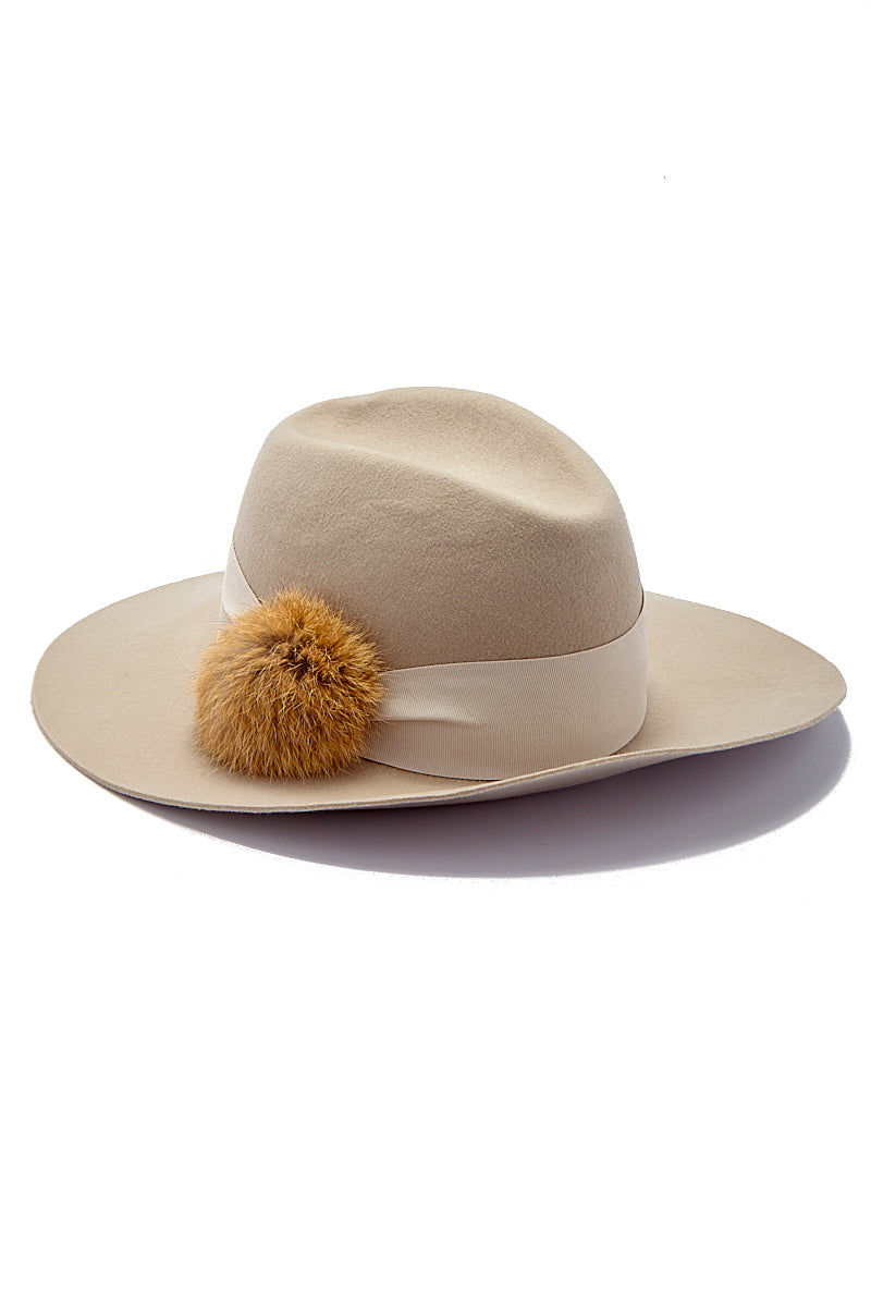 HAT ATTACK Cameron Wool Felt Hat With Fur Pom Hat | Neutral| Hat attack Cameron Hat w/ Fur Pom