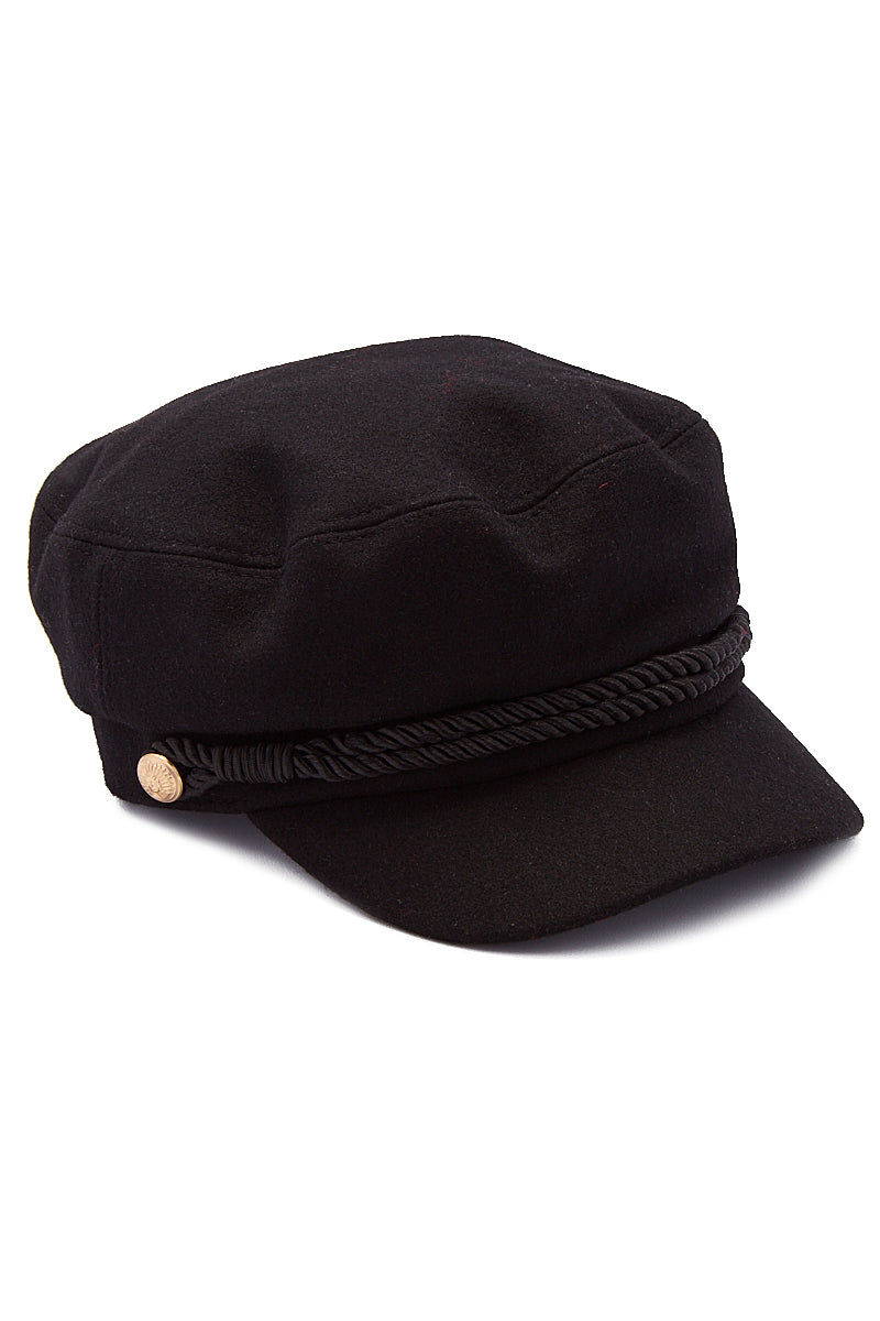 HAT ATTACK Emmy Wool Captain's Cap - Black Hat | Black| Hat Attack Emmy Wool Cap Casually cute black wool cap with embossed gold button accents. Side View