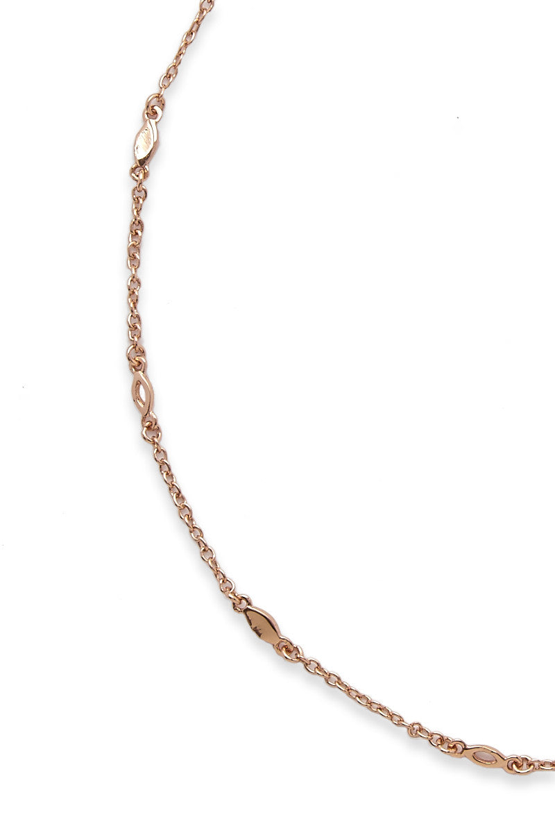 "LUV AJ Mini Marquise Link Choker - Rose Gold Jewelry | Rose Gold| LUV AJ Mini Marquise Link Choker Close Up View 12"" Chain with 2"" extender Plated rose gold Made from brass"