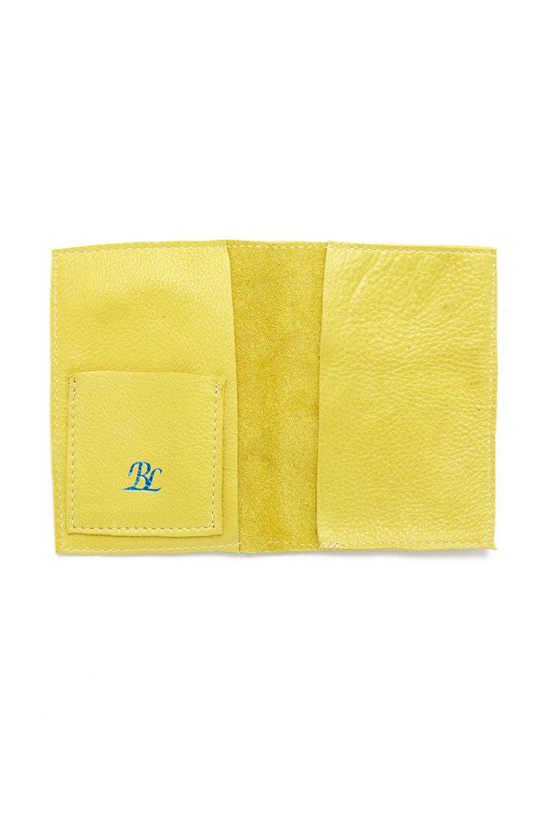 BLYTHE LEONARD Chartreuse Passport Cover - Chartreuse/Blue Accessories | Chartreuse/Blue| Blythe Leonard Chartreuse Passport Cover