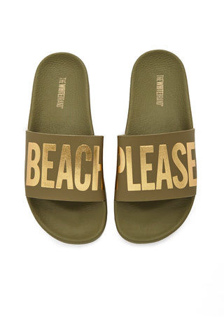 "THE WHITEBRAND Beach Please Minimal Sandals - Army Green Sandals | Army Green| THE WHITEBRAND Beach Please Minimal Sandals (Women's) - Army Green . slide sandals with graphic golden ""BEACH PLEASE"" print along synthetic leather strap and contoured, cushioned footbed and two inch platform for added height and style"
