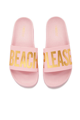 "THE WHITEBRAND Beach Please Minimal Sandals (Women's) - Pink Lemonade Sandals | Pink Lemonade| THE WHITEBRAND Beach Please Minimal Sandals (Women's) - Pink Lemonade -colored slide sandals with graphic golden ""BEACH PLEASE"" print along synthetic leather strap and contoured, cushioned footbed and two inch platform for added height and style"