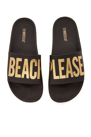 "THE WHITEBRAND Beach Please Minimal Sandals - Black Sandals | Black| The WhiteBrand Beach Please Minimal Sandals (Women's) - Black.  slide sandals with graphic golden ""beach please"" print along synthetic leather strap and contoured cushioned footbed and two inch platform for height and style"