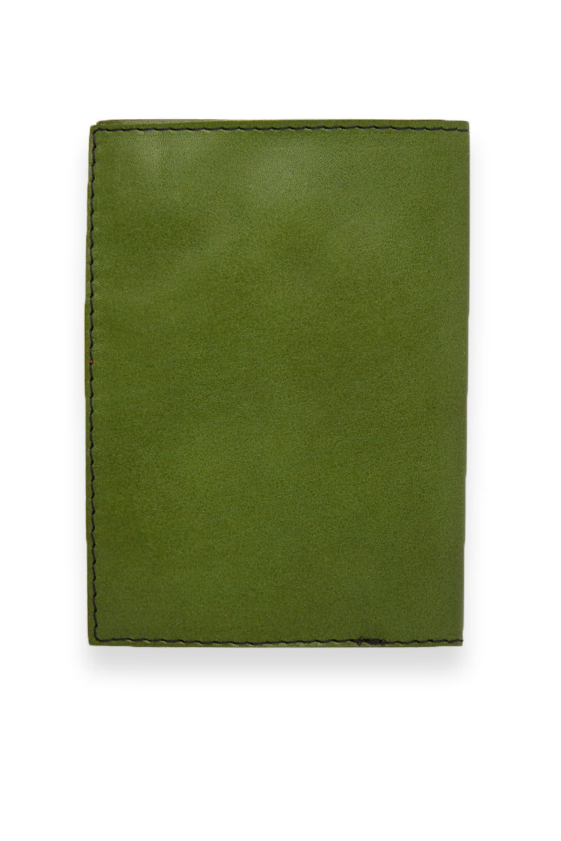 BLYTHE LEONARD Passport Cover - Apple Green/Gold Accessories | Apple Green/Gold| Blythe Leonard Passport Cover - Apple Green/Gold Interior pocket for passport Additional adjacent pocket One Interior card slot patch pocket  Green leather  Gold embossed lettering  Handmade in the US Pattern may vary from picture shown Back View