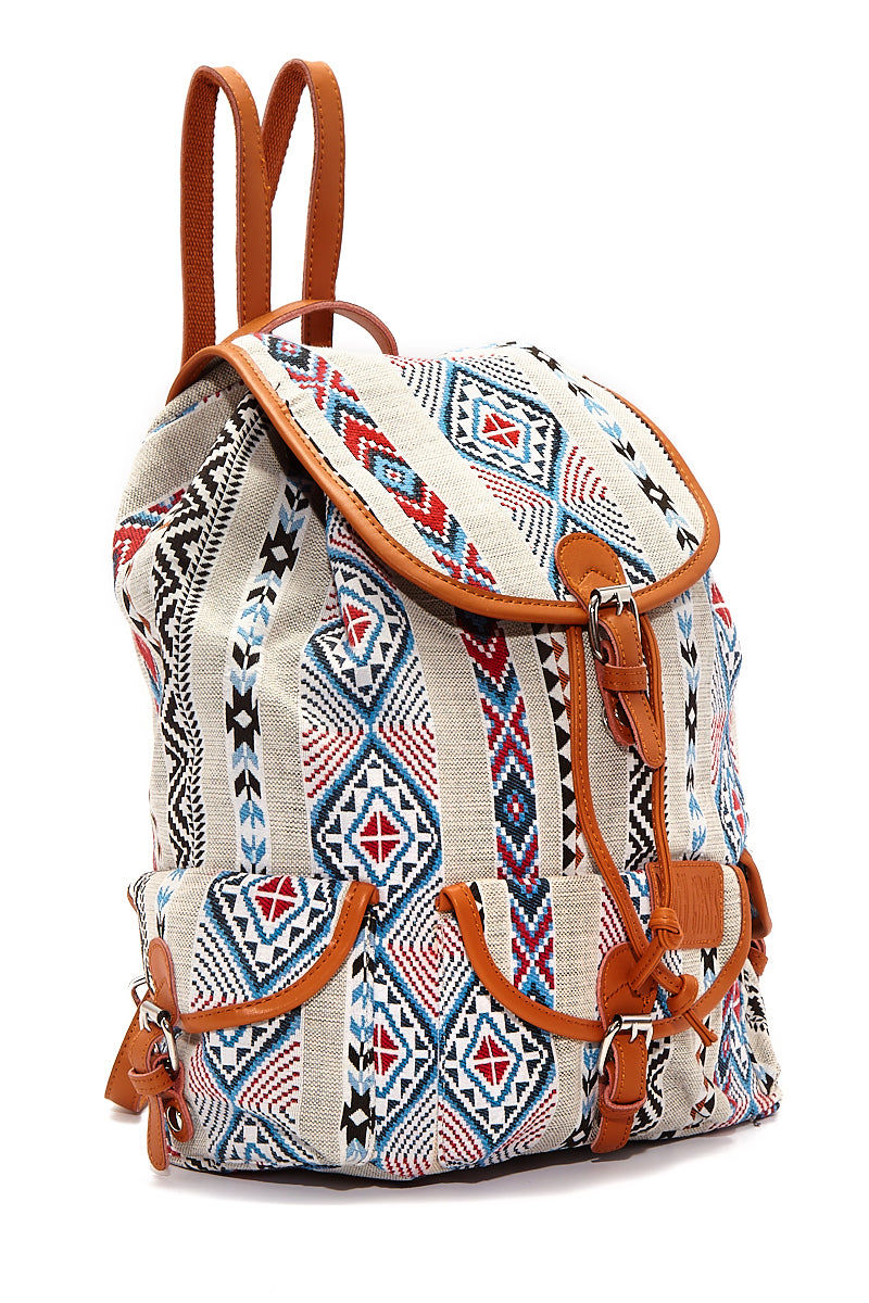 BEACH GYPSY'S Large Bohemian Jacquard Backpack - Serape Aztec Print Bag   Serape Aztec Print  Beach Gypsy's Bohemian Backpack - Serape Aztec Print Versatile jacquard texture leather trim buckle closure backpack with a pull closure. Eye-catching multicolor geometric abstract printed thick jacquard fabric Side View