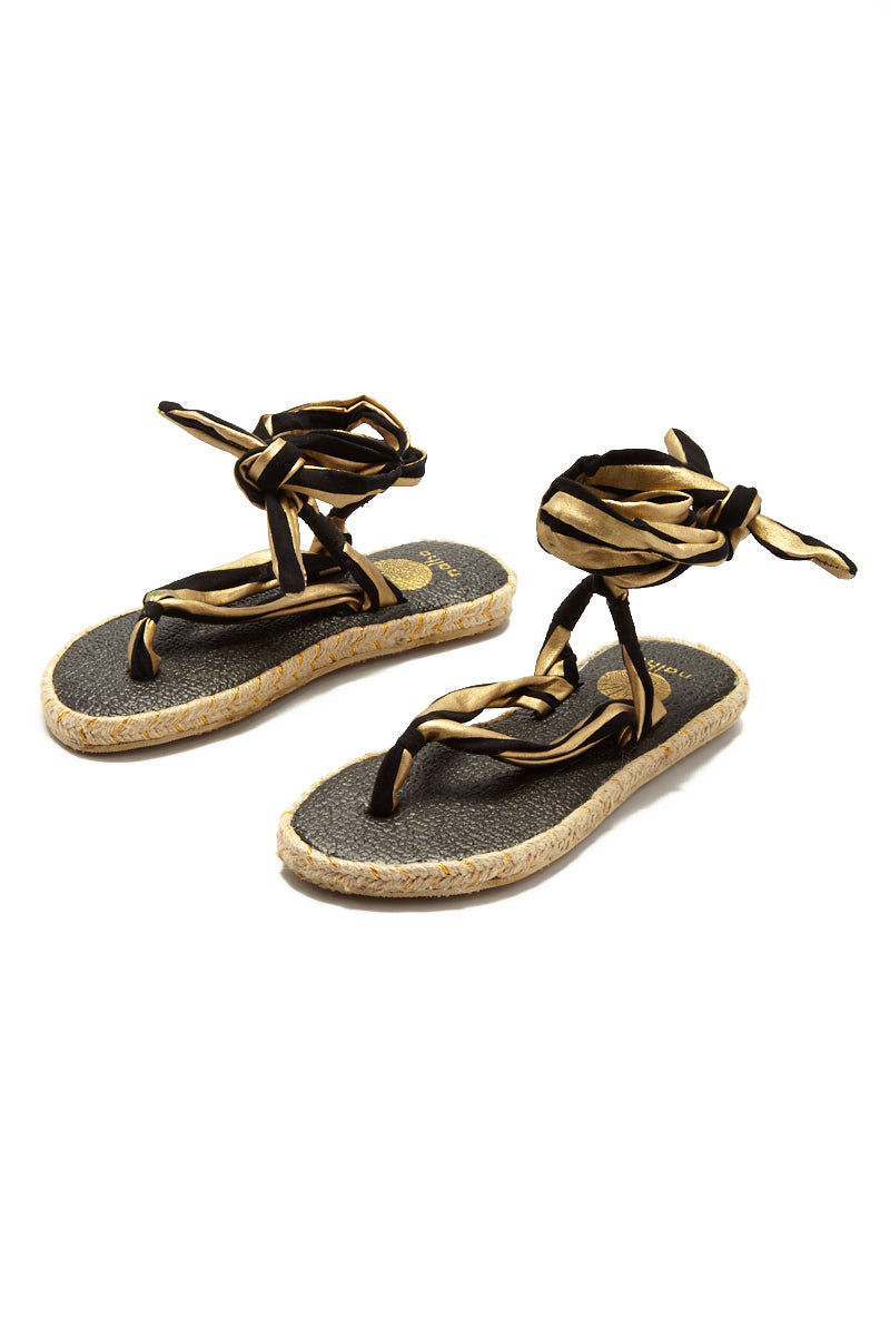 NALHO Karabi Metalic Sandals Sandals | Gold/ Black| Nalho Karabi Metalic Sandals