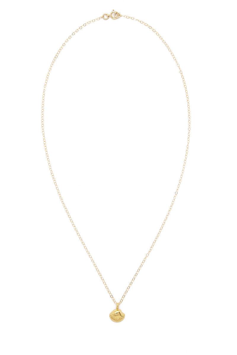 TATIANA KATZOFF Tiny Seashell Necklace - Gold Jewelry | Gold| Tatiana Katzoff Tiny Seashell Necklace - Gold Seashell charm 14K Gold filled Handmade in USA Front View