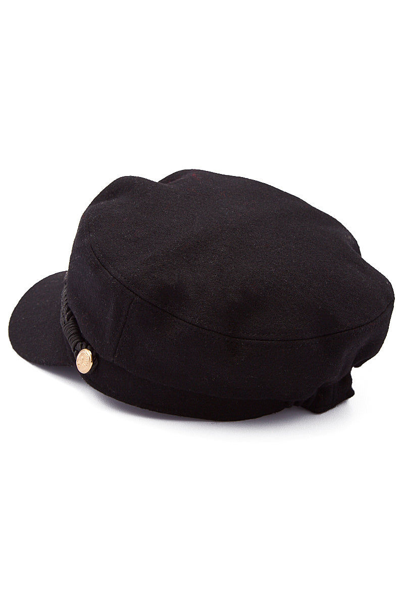HAT ATTACK Emmy Wool Captain's Cap - Black Hat | Black| Hat Attack Emmy Wool Cap Casually cute black wool cap with embossed gold button accents. Back View