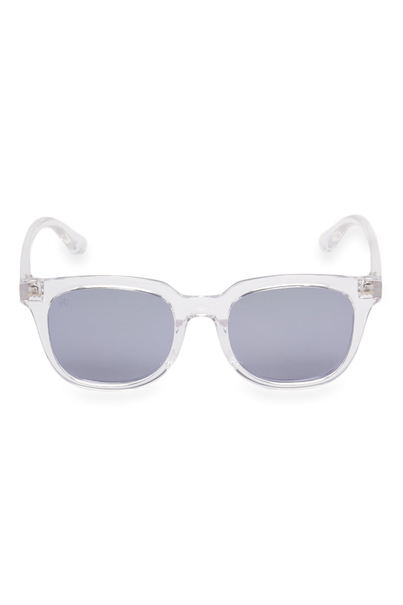 MARSQUEST INC. Gravity Sunglasses - Crystal Clear/Ash Gray Sunglasses | Crystal Clear/Ash Gray| Marsquest Inc. Gravity Sunglasses - Crystal Clear/Ash Gray Unisex Front width: 146 mm, height: 53 mm Polarized lenses High quality TR90 frame and stainless steel mount Flex technology adaptable to all shapes of faces Front View