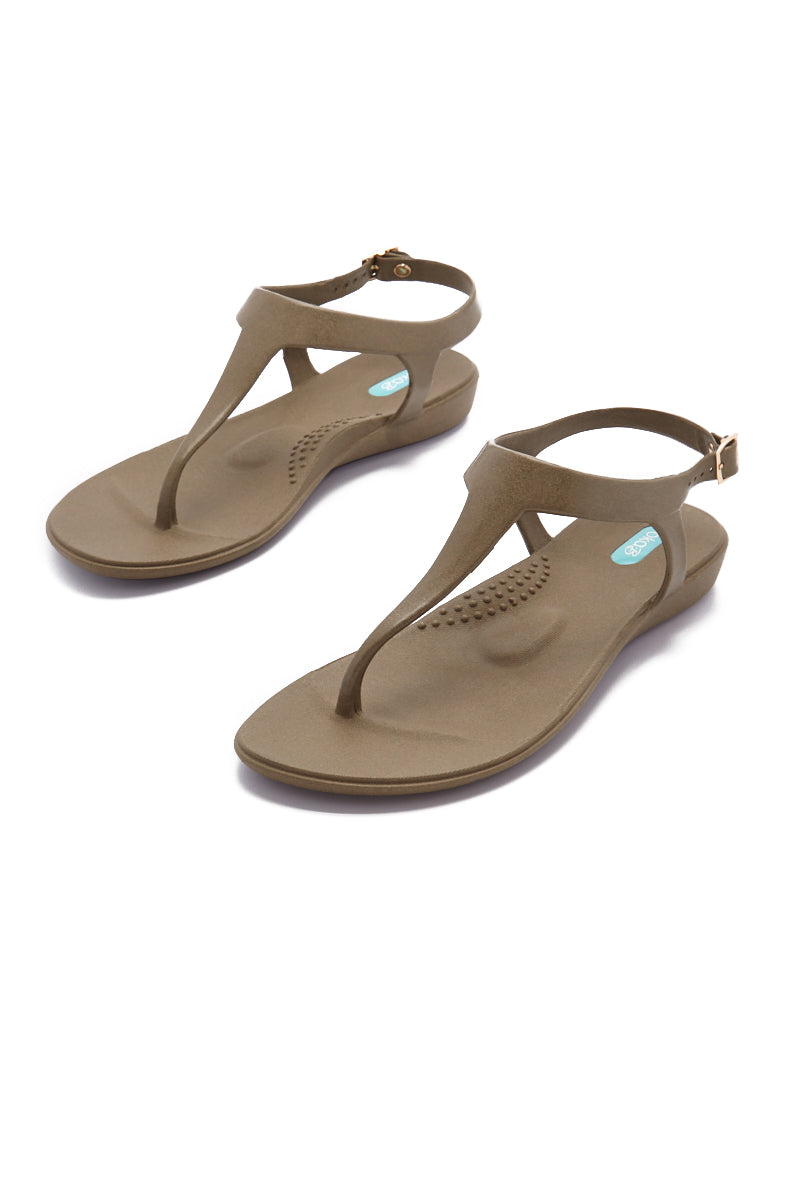 OKA.B Carson Sandals - Dirty Martini Brown Sandals | Dirty Martini Brown| Oka.B Carson Sandals - Dirty Martini Brown Breezy straps Adjustable gold side buckle closure Cushioned foot bed Splash-proof flexibility Anti-microbial and odor resistant Front View