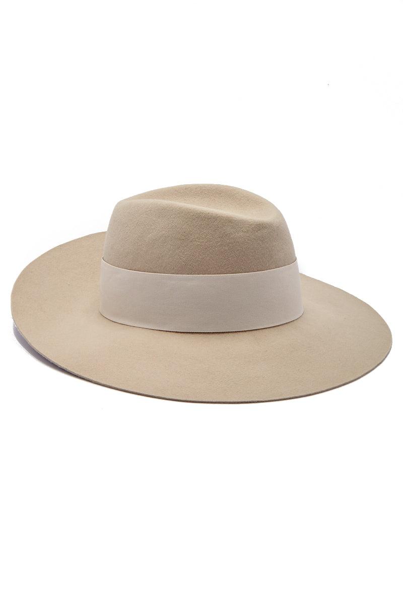HAT ATTACK Cameron Wool Felt Hat With Fur Pom Hat | Neutral| Hatattack Cameron Hat w/ Fur Pom