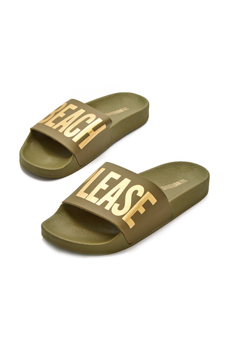 "THE WHITEBRAND Beach Please Minimal Sandals - Army Green Sandals | Army Green| THE WHITEBRAND Beach Please Minimal Sandals (Women's) - Army Green.  slide sandals with graphic golden ""BEACH PLEASE"" print along synthetic leather strap and contoured, cushioned footbed and two inch platform for added height and style"