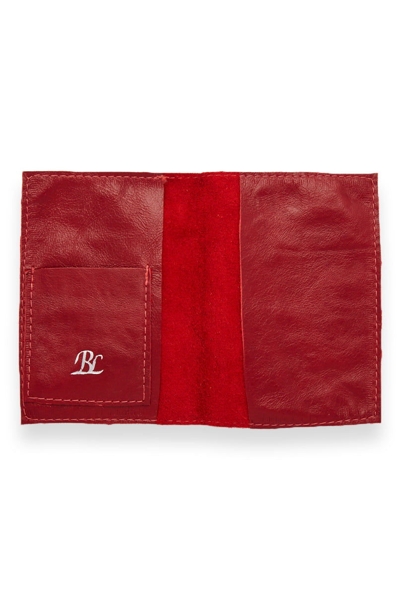 BLYTHE LEONARD Red Passport Cover - Red/Silver Accessories | Red/ Silver| Blythe Leonard Red Passport Cover open view