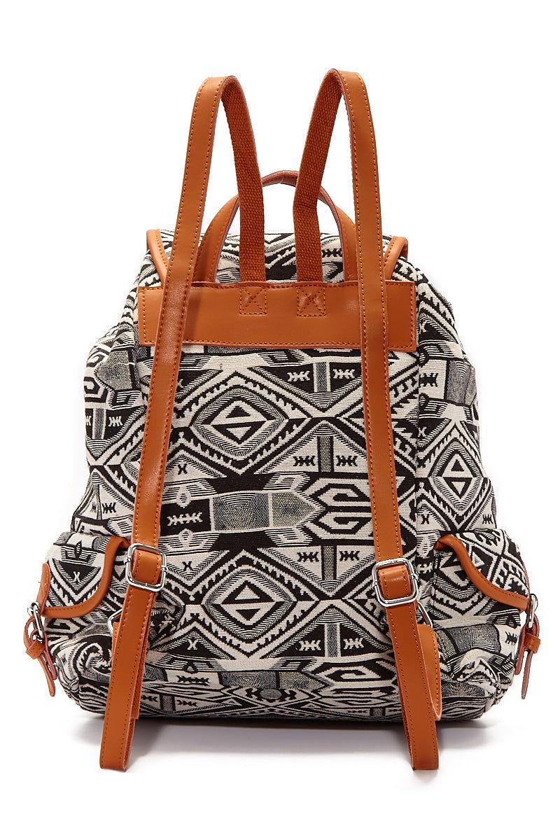 BEACH GYPSY'S Large Bohemian Jacquard Backpack - Black Bag | Black| Beach Gypsy's Bohemian Backpack