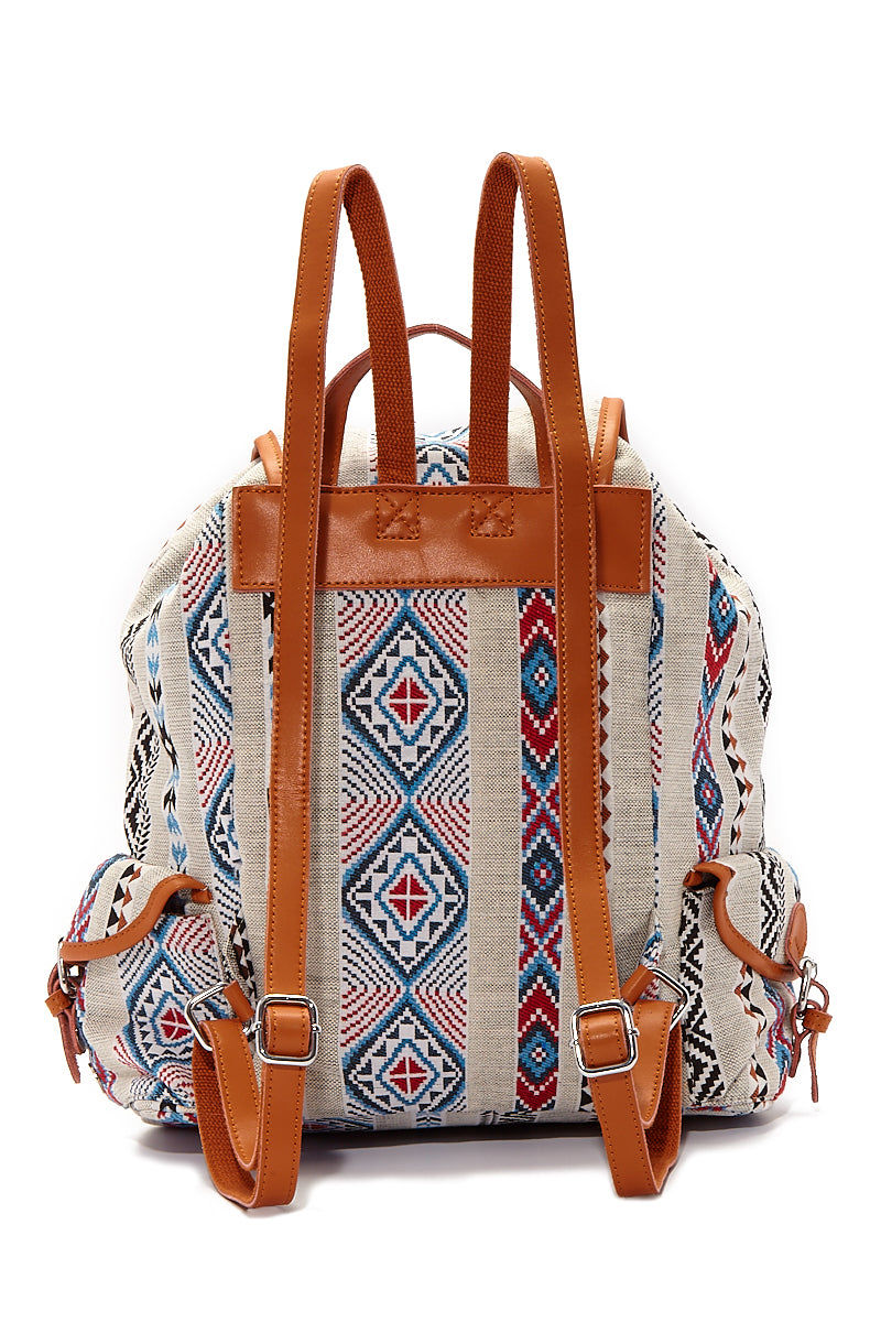 BEACH GYPSY'S Large Bohemian Jacquard Backpack - Serape Aztec Print Bag   Serape Aztec Print  Beach Gypsy's Bohemian Backpack - Serape Aztec Print Versatile jacquard texture leather trim buckle closure backpack with a pull closure. Eye-catching multicolor geometric abstract printed thick jacquard fabric Back View