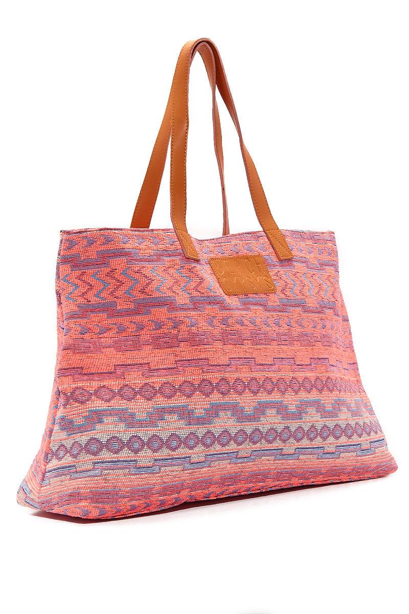 BEACH GYPSY'S Oversized Jacquard Beach Tote - Sunset Bag | Sunset| Beach Gypsy's Tribal Tote