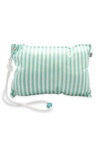CAIA BEACH PILLOWS Mint Waterproof Beach Pillow - Mint Stripe Pillow | Mint Stripe| Caia Beach Pillows Mint Waterproof Beach Pillow - Mint Stripe