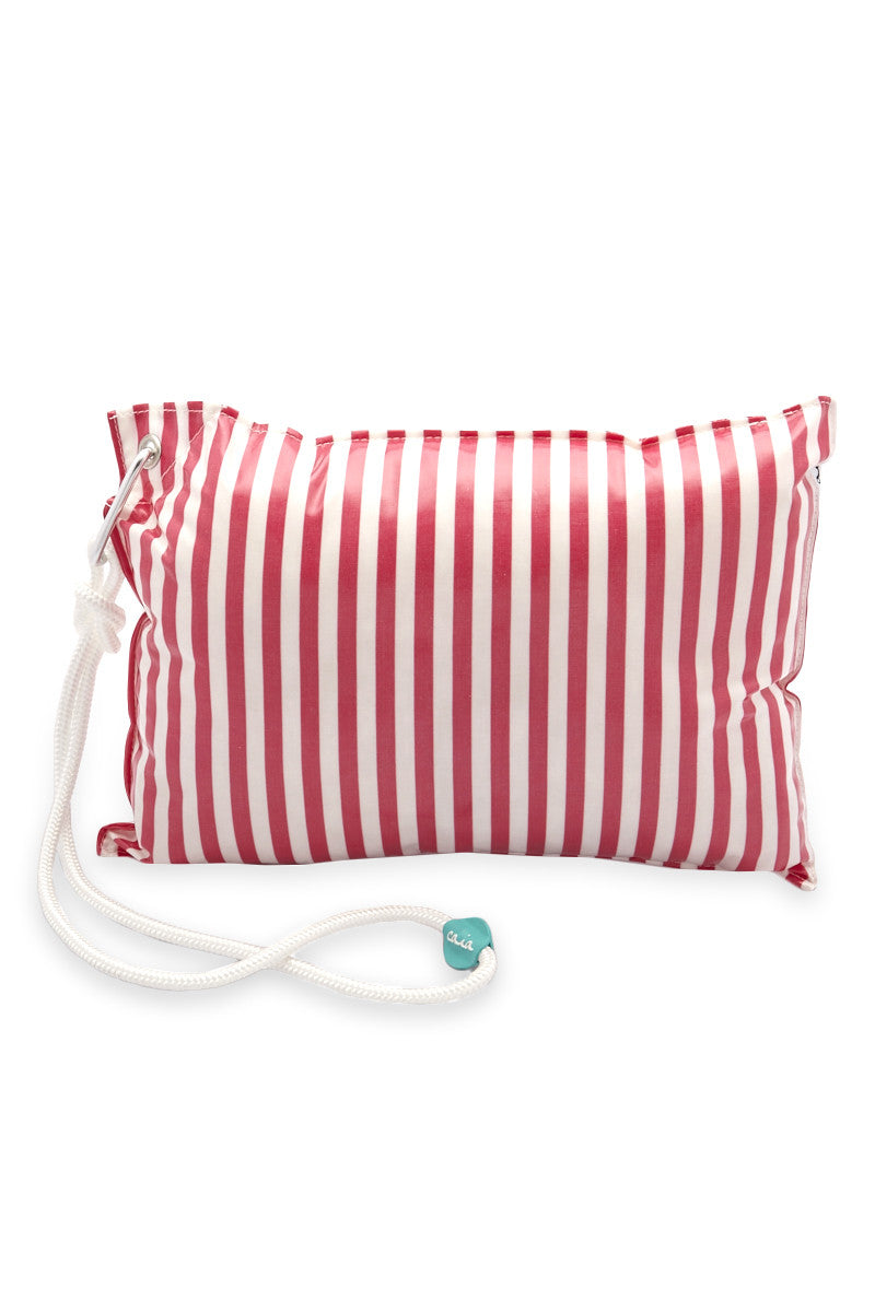 CAIA BEACH PILLOWS Candy Waterproof Beach Pillow - Pink Stripe Pillow | Pink Stripe| Caia Beach Pillows Candy Waterproof Beach Pillow - Pink Stripe