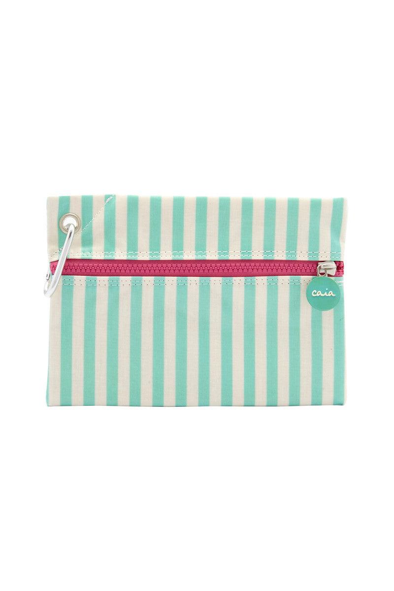 CAIA BEACH PILLOWS Mint Clutch Bag | Mint Stripe| Caia Mint Clutch