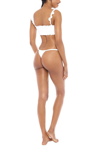 CHLOE ROSE Sweet Pea Double Strap Thong Bikini Bottom - White Bikini Bottom | White| Chloe Rose Sweet Pea Double Strap Thong Bikini Bottom - White Thong coverage Double strap sides Back View