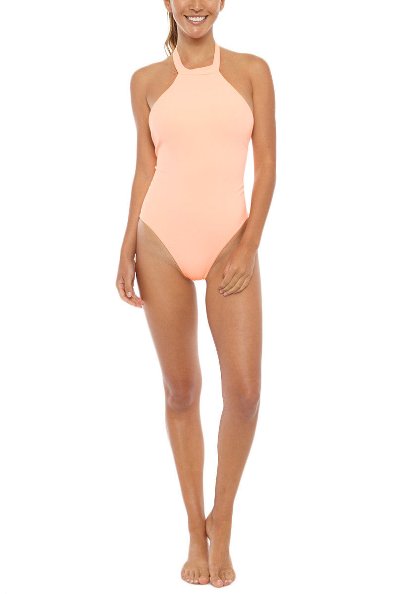 MGS Body Gloved Ribbed High Neck T Back One Piece Swimsuit - Apricot Orange One Piece | Apricot Orange| Body Gloved Ribbed High Neck T Back One Piece Swimsuit - Apricot Orange High neckline  T back  Cheeky coverage Ribbed fabric  Light peach color 80% Nylon, 20% Spandex  Front View