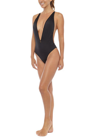 TOWERS SWIMWEAR Deep 90's Criss Cross Back High Cut One Piece Swimsuit - Black One Piece | Black| Towers Swimwear Deep 90's Criss Cross Back High Cut One Piece Swimsuit - Black Deep V-Neckline Low rise back  Criss cross back detail Ties at lower back Cheeky coverage Front View